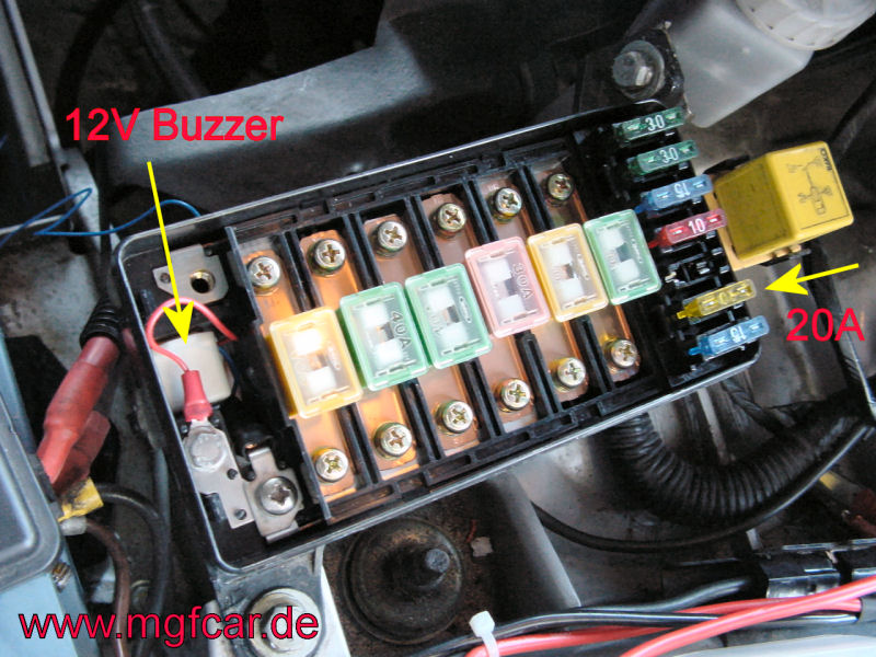 buzzer_dsc03348 mgf & mg tf owners forum fan fuse alarm how to fit mgf fuse box location at gsmportal.co